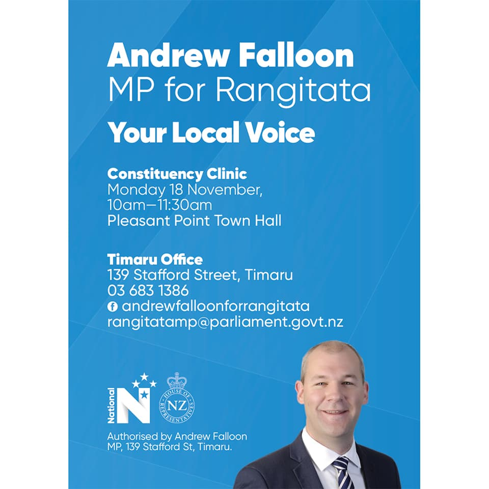 Andrew Falloon MP Rangitata constituency visit