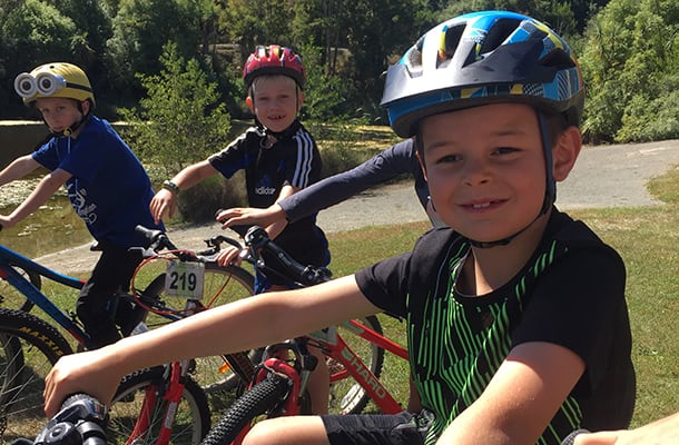 Kids on bikes-Centennial Park-Timaru-South Canterbury-New Zealand-1col